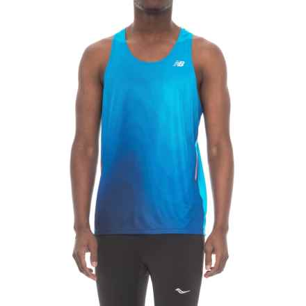 New Balance Ice Singlet Tank Top (For Men) in Infrared/Team Royal Mulit - Closeouts