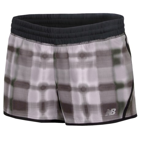"New Balance Impact Graphic Running Shorts - Built-In Brief, 3"" (For Women) in Black/Magnet"