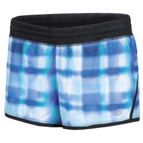 """New Balance Impact Graphic Running Shorts - Built-In Brief, 3"""" (For Women) in Blue Atoll/Black"""
