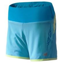 "New Balance Impact Running Shorts - Built-in Liner Shorts, 5"" (For Women) in Poolside W/ Blue Infinity And Sunny Lime - Closeouts"