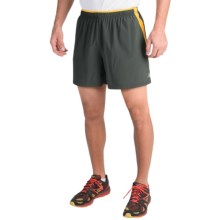 "New Balance Impact Track Shorts - 5"" (For Men) in Defense Green/Gold Rush - Closeouts"