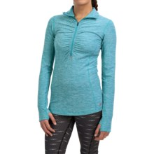 New Balance In Transit Pullover Shirt - Zip Neck, Long Sleeve (For Women) in Bayside Heather - Closeouts