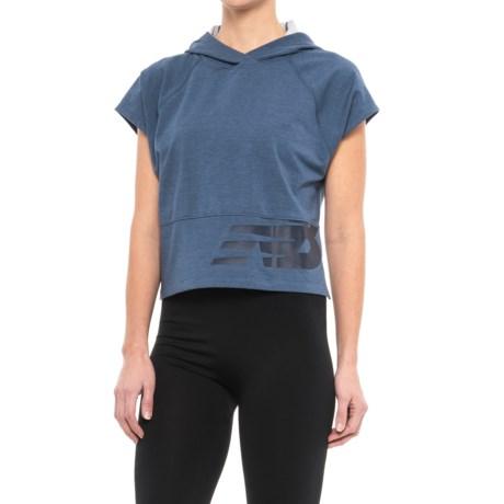 New Balance Intensity Crop Hoodie - Short Sleeve (For Women) in Vintage Heather