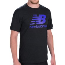 New Balance Large Logo T-Shirt - Short Sleeve (For Men) in Black/Optic Blue - Closeouts