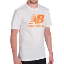 New Balance Large Logo T-Shirt - Short Sleeve (For Men) in White/Dynamite - Closeouts