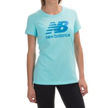 New Balance Large Logo T-Shirt - Short Sleeve (For Women) in Sea Spray/Blue Logo - Closeouts