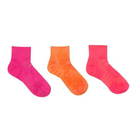 New Balance Lightweight Socks - 3-Pack, Ankle (For Little and Big Kids) in Fuchsia/Orange/Coral - 2nds
