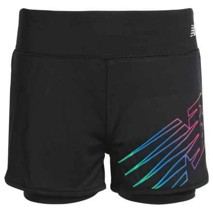 New Balance Logo Bike Shorts - Built-In Liner (For Big Girls) in Black - Closeouts