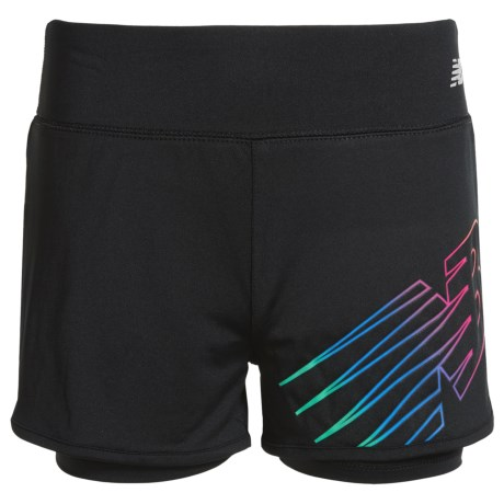 New Balance Logo Bike Shorts - Built-In Liner (For Big Girls) in Black