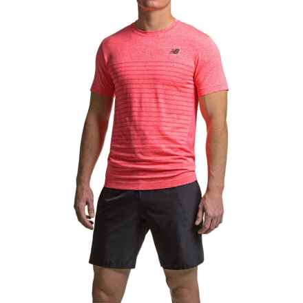New Balance M4M Seamless Shirt - Short Sleeve (For Men) in Bright Cherry Heather - Closeouts