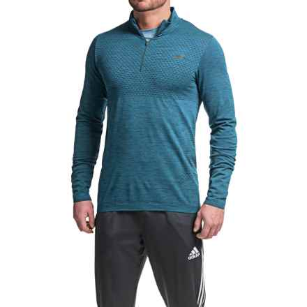 New Balance M4M Seamless Shirt - Zip Neck, Long Sleeve (For Men) in Barracuda - Closeouts