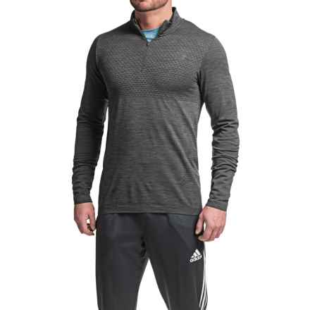 New Balance M4M Seamless Shirt - Zip Neck, Long Sleeve (For Men) in Black Heather - Closeouts