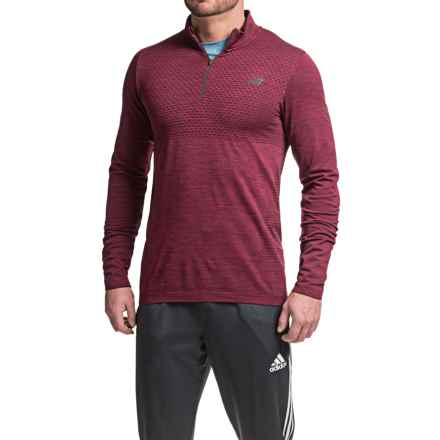 New Balance M4M Seamless Shirt - Zip Neck, Long Sleeve (For Men) in Sedona Heather - Closeouts