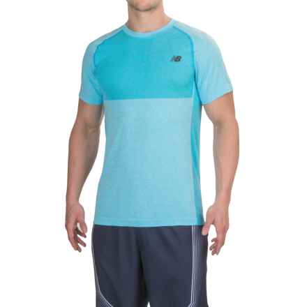 New Balance M4M Seamless T-Shirt - Short Sleeve (For Men) in Bayswater Heather - Closeouts