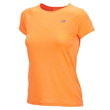 New Balance Momentum Shirt - Short Sleeve (For Women) in Orange Pop
