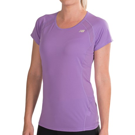 New Balance Momentum Shirt - Short Sleeve (For Women) in Violet Tulip