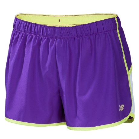 New Balance Momentum Shorts - Built-In Brief (For Women) in Amethyst W/ Sunny Lime
