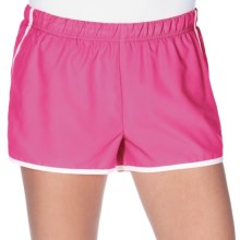 New Balance Momentum Shorts - Built-In Brief (For Women) in Pink/White/Black - Closeouts