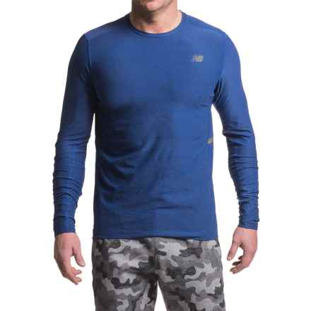 New Balance N Transit Shirt - Long Sleeve (For Men) in Marlin  Blue Heather - Closeouts