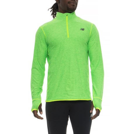New Balance N Transit Shirt - Zip Neck, Long Sleeve (For Men) in Energy Lime