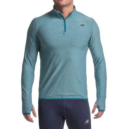 New Balance N Transit Shirt - Zip Neck, Long Sleeve (For Men) in Riptide Heather - Closeouts