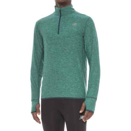 New Balance N Transit Shirt - Zip Neck, Long Sleeve (For Men) in Vivid Jade Heather - Closeouts