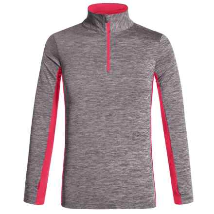 New Balance NB Dry Shirt - Zip Neck, Long Sleeve (For Big Girls) in Heather Grey/Magenta - Closeouts
