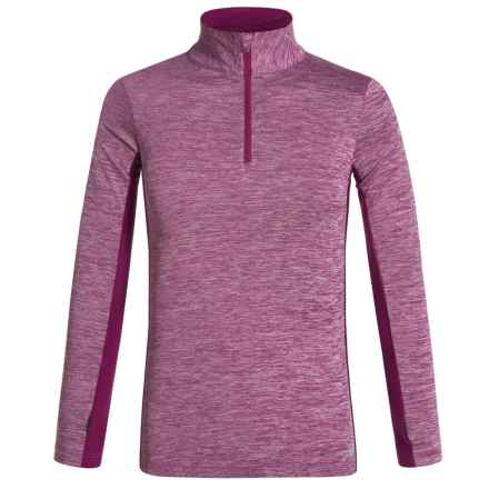 New Balance NB Dry Shirt - Zip Neck, Long Sleeve (For Big Girls) in Heather Pink/Magenta - Closeouts