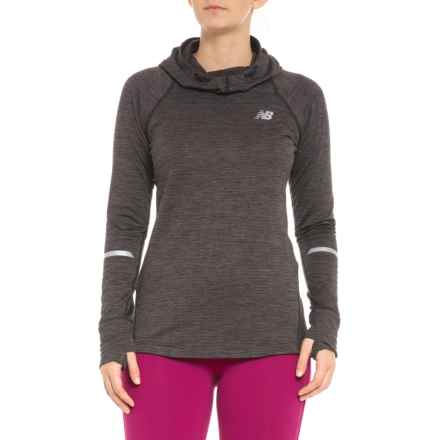 New Balance NB Heat Hooded Shirt - Long Sleeve (For Women) in Charcoal - Closeouts