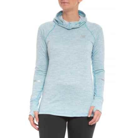 New Balance NB Heat Hooded Shirt - Long Sleeve (For Women) in Light Blue - Closeouts