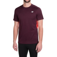 New Balance NB Ice T-Shirt - Short Sleeve (For Men) in Burgundy/Flame - Closeouts