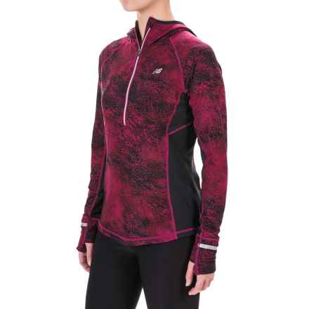 New Balance NBHeat Hoodie - Zip Neck (For Women) in Deep Jewel Multi/Black - Closeouts