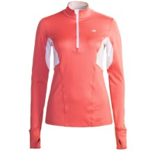 New Balance NBX Shirt - Zip Neck, Long Sleeve (For Women) in Cayenne/White - Closeouts