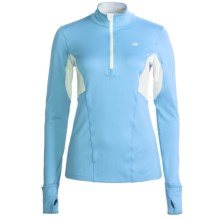New Balance NBX Shirt - Zip Neck, Long Sleeve (For Women) in Grotto Blue/White - Closeouts