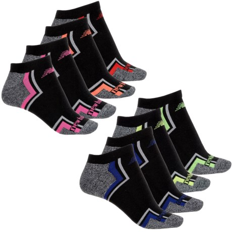 New Balance No-Show Athletic Socks - 8-Pack, Below the Ankle (For Women) in Black/Charcoal Heather W/Multi