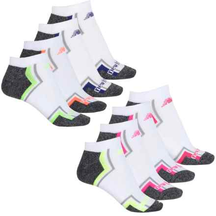 New Balance No-Show Athletic Socks - 8-Pack, Below the Ankle (For Women) in White/Charcoal Heather W/Multi - Closeouts