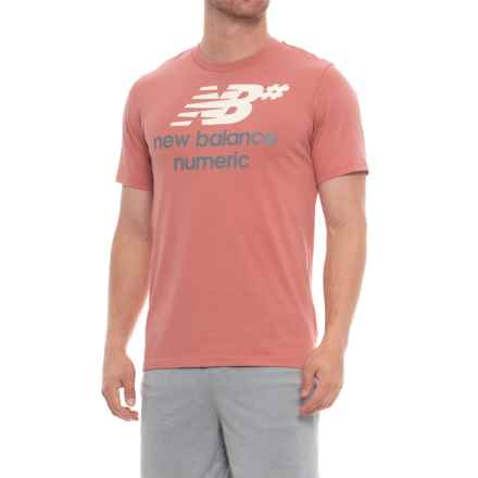 New Balance Numeric Stacked Running T-Shirt - Short Sleeve (For Men) in Dusted Peach - Closeouts