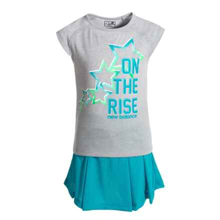 New Balance On the Rise Graphic T-Shirt and Skort Set - Short Sleeve (For Little Girls) in Grey/Blue - Closeouts