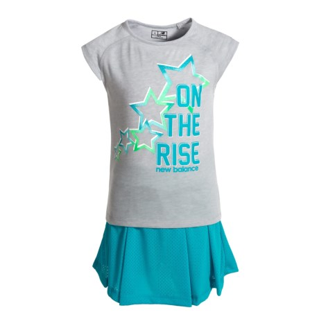 New Balance On the Rise Graphic T-Shirt and Skort Set - Short Sleeve (For Little Girls) in Grey/Blue