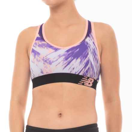 New Balance Pace Sports Bra - Racerback, Medium Impact (For Women) in Deep Violet/Bleached Sunrise/Black Plum - Closeouts