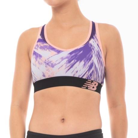 New Balance Pace Sports Bra - Racerback, Medium Impact (For Women) in Deep Violet/Bleached Sunrise/Black Plum