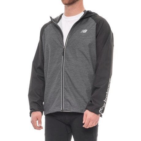 New Balance Packable Printed Space-Dye Jacket (For Men) in Charcoal Spacedye/Black