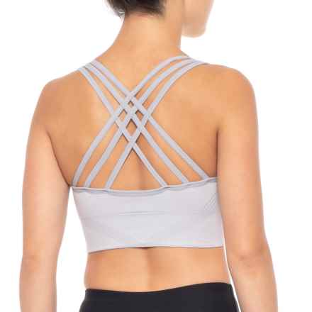 New Balance Padded Lattice Back Sports Bra - Medium Impact, Padded Cups (For Women) in Silver Mink - Closeouts