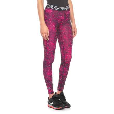 New Balance Pink Ribbon Printed Accelerate Tights (For Women) in Pinkglo - Closeouts