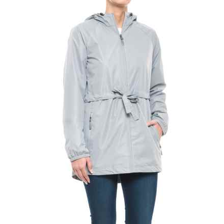 New Balance Poly Dobby Anorak Jacket (For Women) in Silver Mink With Steel Mesh , Steel Bungees/Puller - Closeouts