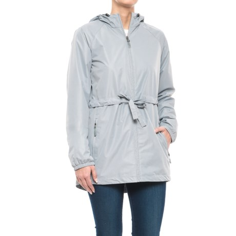 New Balance Poly Dobby Anorak Jacket (For Women) in Silver Mink With Steel Mesh , Steel Bungees/Puller