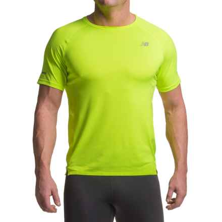 New Balance Precision Run Shirt - Short Sleeve (For Men) in Toxic Yellow - Closeouts