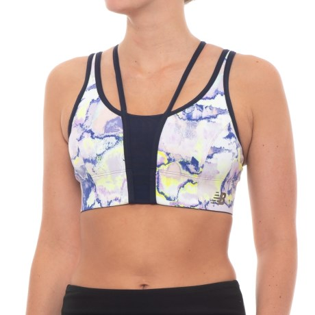 New Balance Printed Evolve Crop Top - Sleeveless (For Women) in White Multi
