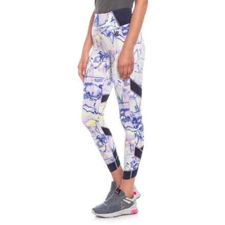New Balance Printed Evolve Tights (For Women) in White Multi - Closeouts