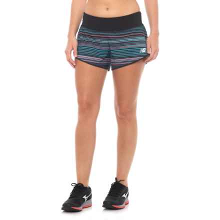 "New Balance Printed Impact 3"" Running Shorts - Built-In Lining (For Women) in Maldives Blue - Closeouts"